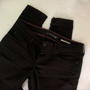 Black Distressed Jeans with Inner Thigh Rip